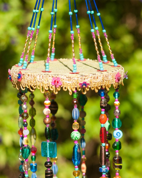 Colorful Bohemian Beaded Mobile with Brass bells (made to order)