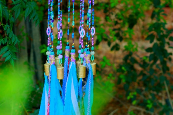 Turquoise and Purple Wind Chime Sun Catcher Mobile (made to order)
