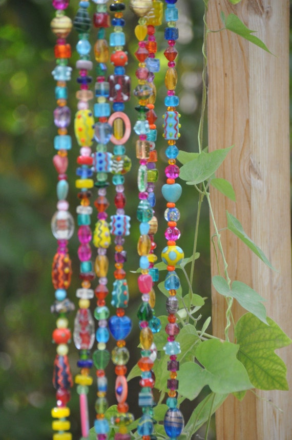Colorful Bohemian Glass Bead strings With Brass Bells (Made to Order)