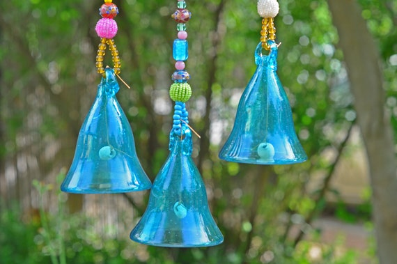 Turquoise Blue Glass-Blown Bell On Beaded String (Made to Order)