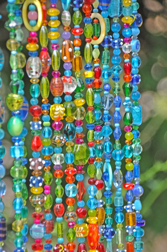 Brown, Blue, Turquoise, Green, Red, Yellow and Orange Beaded Curtain (made to order)