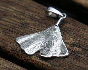 Ginkgo Leaf Pendant, Ginkgo Pendant, Sterling Silver, Ginkgo Biloba, Sterling Silver Ginkgo Leaf Pendant, Ginkgo Jewelry, Nature Pendant