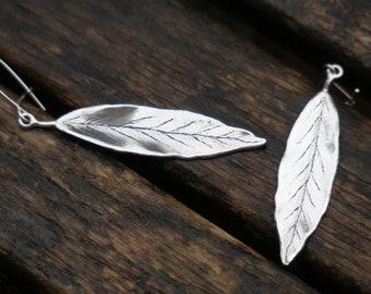 Silver Leaf Earrings, Leaf Earrings, Sterling Silver Earrings, Silver Dangle Earrings, Nature Earrings, Woodland Earrings