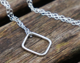Sterling Silver Square Necklace, Geometric Necklace, Sterling Silver Necklace, Delicate Silver Necklace, Everyday Necklace, Minimalist