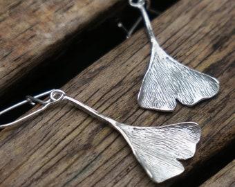 Sterling Silver Earrings, Silver Ginkgo Leaf Earrings, Leaf Earrings, Silver Dangle Earrings, Nature Earrings Ginkgo Earrings