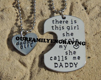 94a03b11 ON SALE Father daughter Hand stamped set little girl kids love Fathers day dad  daddy stole heart pendant necklace set