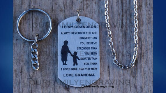 Grandson Gifts From Grandma Grandma Nana Grandparents You Are Braver Than You Believe Necklace Jewelry For Kids Pendant Dog Tag