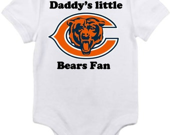 ON SALE Chicago Bears Daddys little fan Shirt Gerber onesie you pick size newborn / 0-3 / 3-6 / 6-12 / 18 24 month