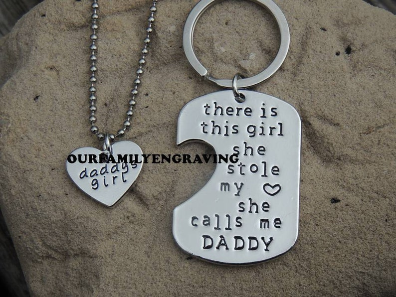 9c05c45a ON SALE Father daughter Hand stamped set little girl kids love   Etsy