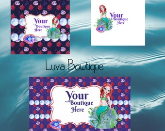 Mermaid Facebook Set, Facebook banner, Facebook graphics, Facebook cover photo, store graphics, timeline set, pearls, bubbles, Claims, red
