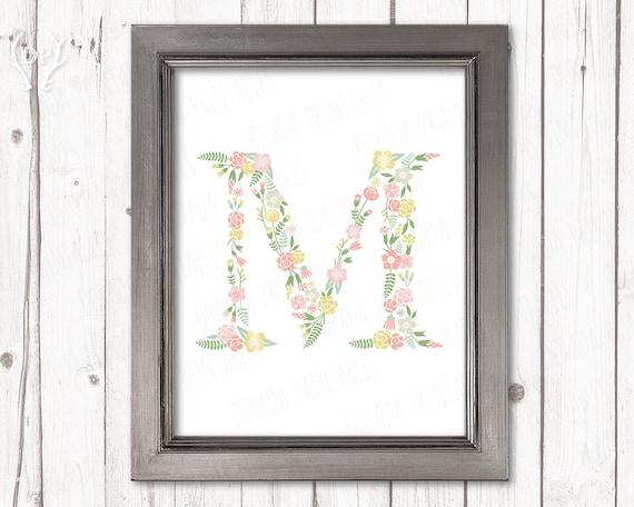 Flores letra M monograma flor pastel inicial niños guardería
