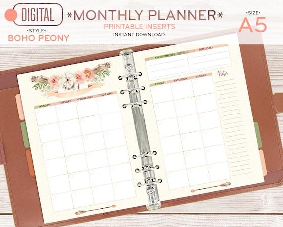Inserte el planificador mensual A5 páginas imprimibles   Etsy