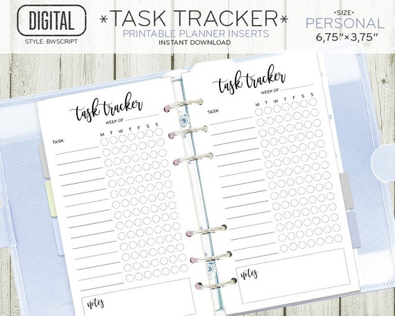 personal size task tracker planner insert daily routine etsy