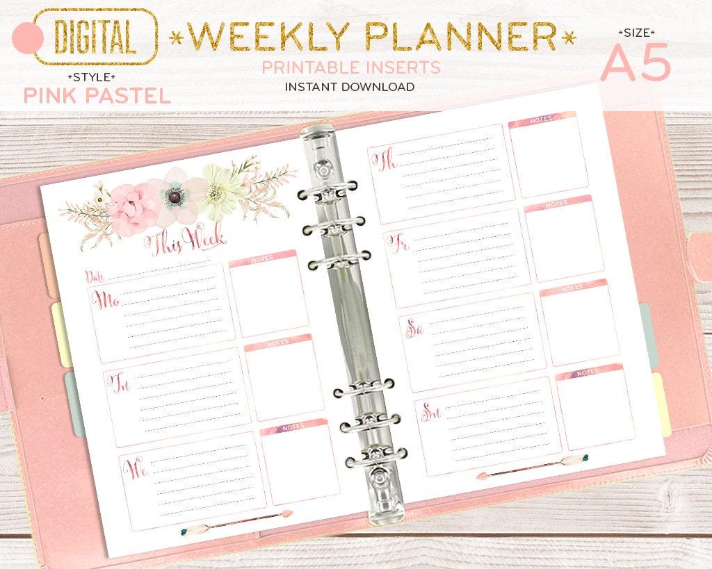 Planificador semanal de A5 páginas imprimibles insertos de | Etsy