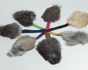 Rabbit Fur Mini Mouse Shaped Dog Toy (toy breed puppy size)