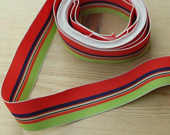 """Multi Color Grosgrain Striped Vintage Ribbon 7/8"""" wide Orange/Red with Lime Green with hints of Navy Yellow and White - sold by yard"""
