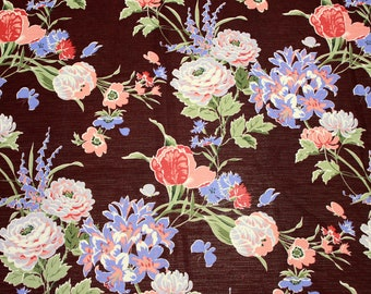 """1  5/6 yard - Vintage Knit Fabric Floral Print - 60"""" wide - Dark Burgundy with Sage Green, Periwinkle, Peach and Cream Botanical Print"""