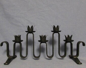 Candle-holder, Black Steel, Holds Five Candles, 1970's