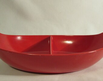 Oneida Divided Serving Dish, Bold Red Melamine, Oval, 1970's