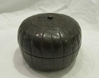 Antique Brass Snuff Box, Betel Nut Box, Round, 1900 - 1920