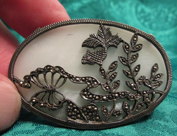 Intricate 1900/'s Japanese Influenced Silver and Marcasite Piece Backed by White Quartz Art Nouveau Brooch FREE SHIPPING