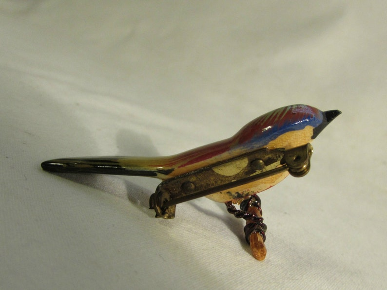 by Takahashi SHIPS FREE BroochPin Hand Painted Bird Hand Carved 1950/'s
