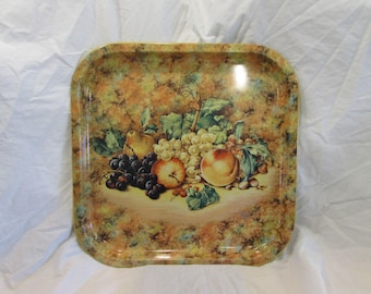 Serving Tray, Daher, England, Fruit Still Life, Mustard Yellow/Green/Earth Tones, 1970's or 1980's