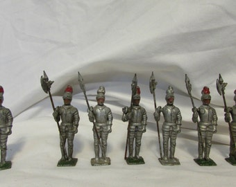 Toy Knights, Handcast and Handpainted Metal, Set of Six, Vintage, 1920's or Earlier