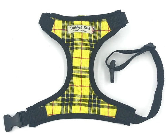 Yellow Tartan Dog Harness