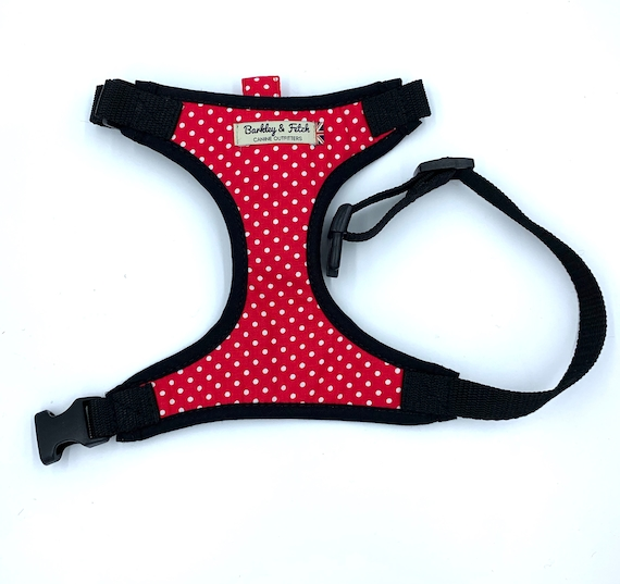 Red and White Spot Dog Harness
