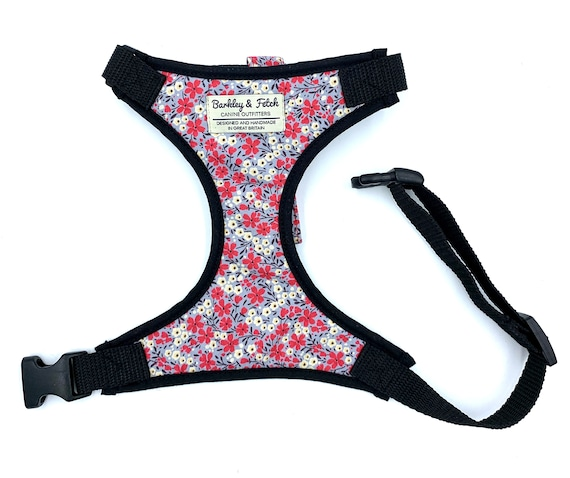Grey/Pink Flower Print Dog Harness