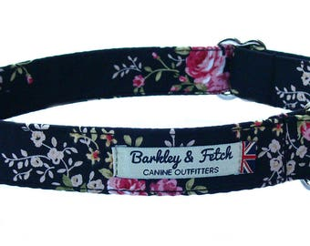 Black with Pink Flowers Dog Collar