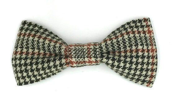 Vintage Wool Dogtooth Check Dog Bowtie