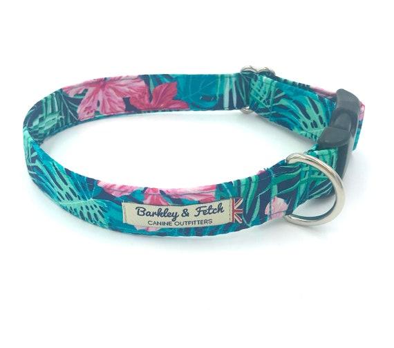 Navy Tropical Print Dog Collar