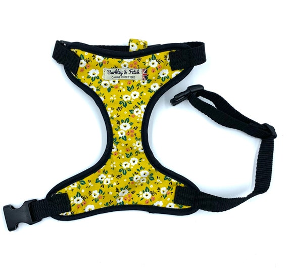 Yellow Flower Print Dog Harness