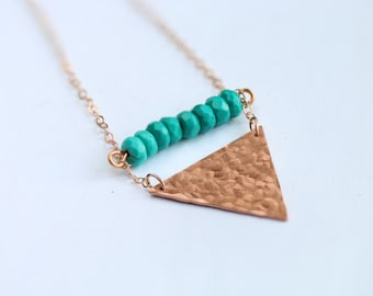 Hammered triangle copper necklace with small blue beads / 14k rose gold chain / geometric charm / minimalist layered jewelry /beads necklace