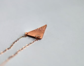 Tiny dotted triangle necklace on 14k rose gold chain // copper geometric charm // minimal style // layered necklaces // handmade jewelry