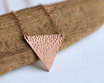 Delicate textured triangle copper necklace // 14k rose gold chain // geometric charm with snowflake pattern // minimalist layered jewelry