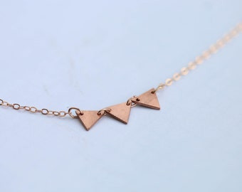 Life's a party! Minimalist copper bunting necklace on 14k rose gold filled chain // party charm // three triangles necklace //celebrate life