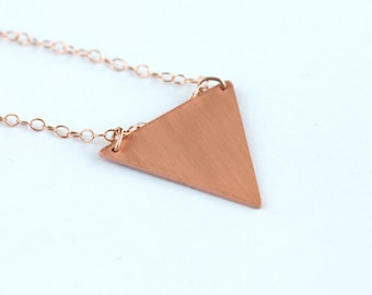 Delicate smooth triangle copper necklace on 14k rose gold filled chain // geometric pendant // minimal layered jewelry // everyday style