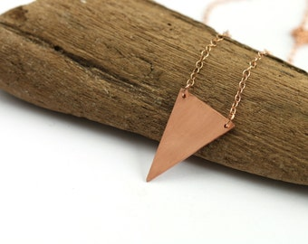 Geometric triangle necklace on 14k rose gold chain // copper charm // minimal layered necklaces // simple delicate jewelry // handmade