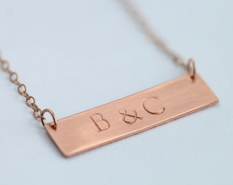 Hand stamped initials bar necklace / & necklace / 14k rose gold chain / layered jewelry / anniversary gift / wedding gift / custom made bar