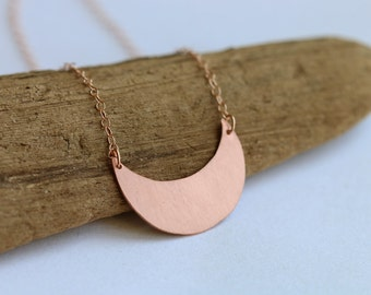 Scallop copper necklace // 14k rose gold // geometric charm // half moon // minimalist layered jewelry // circle charm // moon necklace