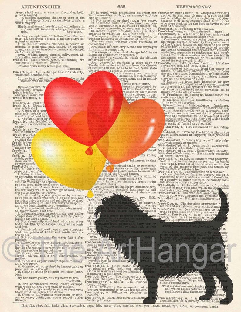 Art Balloons Print Popular Dictionary Dog Gicl\u00e9e Affenpinscher Dictionary Print A4 Dog Decor Gift for Her Dog Print Silhouette