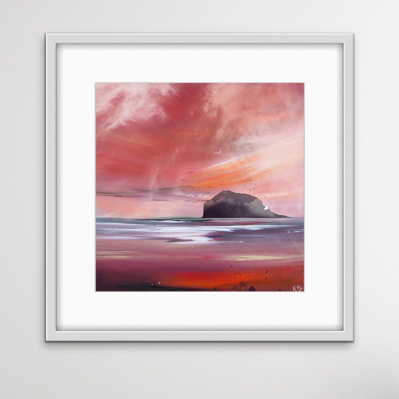 Bass Rock in Red Bass Rock Print Scottish Landscape Bass image 0