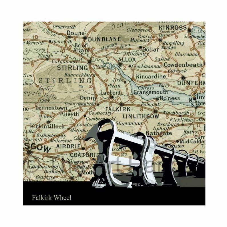Falkirk Wheel West Lothian Old Map Map Silhouette Vintage image 0