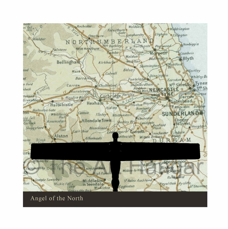 Angel of the North Northumbria Old Map Map Silhouette image 0