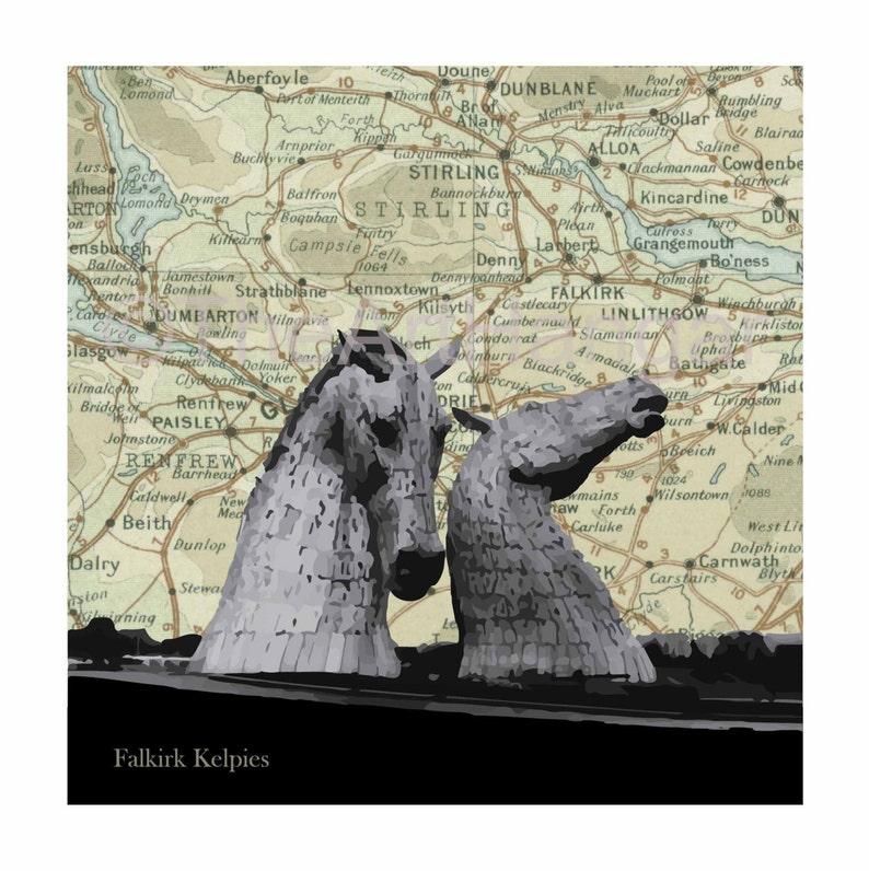 The Kelpies West Lothian Old Map Map Silhouette Vintage image 0