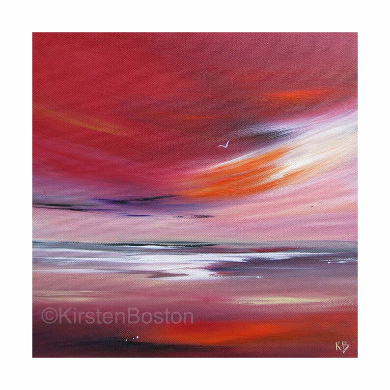 Red Sunset Print Sunset Print Sunset at the Beach Scottish image 0