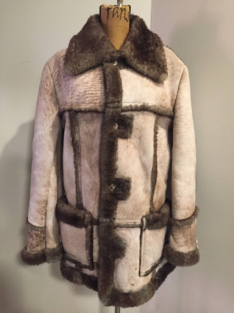 Vintage Sears Natural Brown Size 40 Shearling Sheepskin Free Domestic Shipping